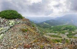 Afloramientos rocosos en la cresta del canto en montañas cárpatas imagen de archivo libre de regalías