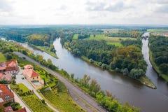 Afluência do Vltava e do Elbe em Melnik fotos de stock royalty free