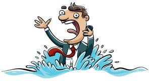 Afogando o homem de negócios ilustração do vetor