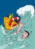 Afogando o homem jogado uma corda de salvamento Fotografia de Stock