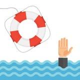Afogando o homem na ilustração lisa do vetor do mar e do boia salva-vidas Fotos de Stock
