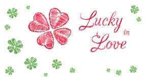 Afortunado en bandera del saludo del amor Imagen de archivo libre de regalías