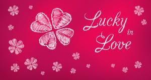 Afortunado na bandeira roxa do cumprimento do amor Imagens de Stock