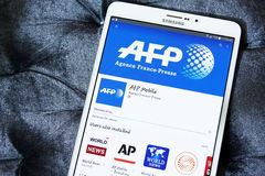 Afp在谷歌戏剧的流动app 库存图片