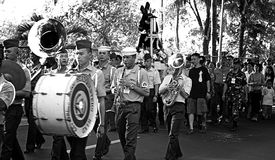 AFP Military Brass Band Black and White. MANILA- APR. 2: Members of the AFP General Headquarters military band march during the Good Friday procession in Camp Royalty Free Stock Photography