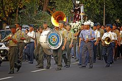 AFP Military Brass Band. MANILA- APR. 2: Members of the AFP General Headquarters military band march during the Good Friday procession in Camp Aguinaldo on April Royalty Free Stock Photo
