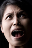 Afraid. Portrait of woman's face expression when afraid stock image