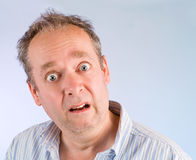 Afraid. The face of a man being afraid of something royalty free stock photography