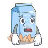 Afraid almond milk in the cartoon bottle. Vector illustration royalty free illustration