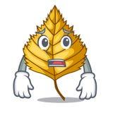 Afraid birch leaves spread the cartoon sticks. Vector illustration royalty free illustration