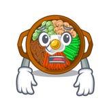 Afraid bowl of bibimbap in cartoon shape. Vector illustration royalty free illustration