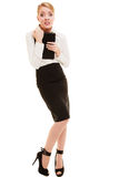Afraid businesswoman shy woman. Stress in work. Full length of emotional afraid businesswoman shy woman isolated on white. First day in new job or stress in Stock Image