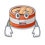 Afraid canned tuna in the cartoon shape. Vector illustration stock illustration