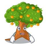 Afraid cartoon orange tree beside the house. Vector illustration stock illustration
