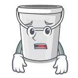 Afraid cartoon plastic tube bucket bedside table. Vector illustration vector illustration