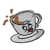 Afraid coffee cup spill. Cartoon illustration Royalty Free Stock Photos