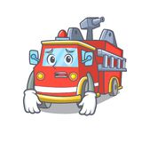 Afraid fire truck mascot cartoon. Vector illustration Royalty Free Stock Photo