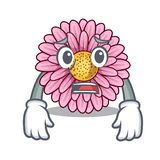 Afraid gerbera flower isolated in the cartoon. Vector illustration royalty free illustration
