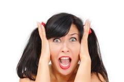 Afraid girl can't hear the sound Stock Photos