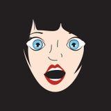 Afraid Girl pop art  illustration Stock Photos
