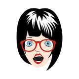 Afraid Girl pop art vector illustration Stock Photo