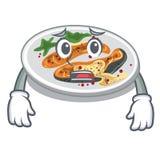 Afraid grilled salmon served on cartoon board. Vector illustration vector illustration