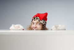 Afraid hidden Santa Royalty Free Stock Photo