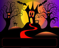 Afraid House Tree And Cat In Halloween Royalty Free Stock Photo