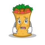 Afraid kebab wrap character cartoon. Vector illustration vector illustration
