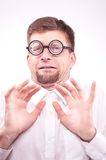 Afraid man in glasses Stock Photography