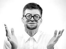 Afraid man in glasses Royalty Free Stock Photos
