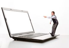 Afraid man points to the monitor Stock Photography