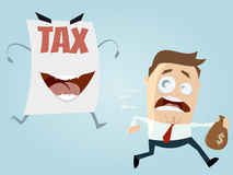 Afraid man running away from a tax assessment monster Royalty Free Stock Photography
