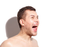 Afraid man is shouting at something royalty free stock image