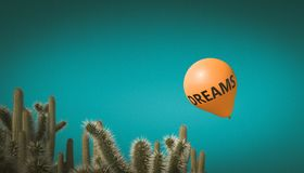 Afraid for my dreams. Orange balloon with the inscription dreams flies towards a group of cactus. 3d render image. concept of fragility and aversion royalty free stock image