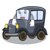 Afraid old cartoon car in side garage. Vector illustration stock illustration