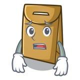Afraid paper bag in the cartoon shape. Vector illustration stock illustration