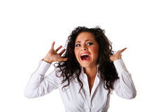 Afraid scared business woman Stock Photo