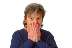 Afraid senior woman Royalty Free Stock Image