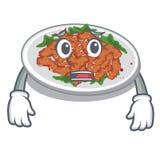 Afraid sesame chicken in a cartoon bowl. Vector illustration royalty free illustration