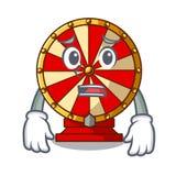 Afraid spinning wheel beside wooden cartoon table. Vector illustration vector illustration