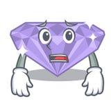 Afraid violet diamond in a cartoon bag. Vector illustration stock illustration