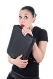 Afraid woman with leather briefcase Royalty Free Stock Photos