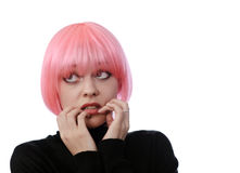 Afraid woman with pink hairs. Isolated on white Royalty Free Stock Photography