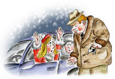 Afraid women in the car. Comic illustration Stock Image