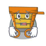 Afraid wooden trolley mascot cartoon. Vector illustration vector illustration