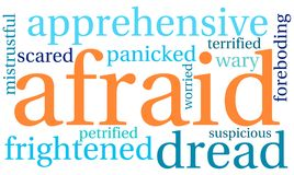 Afraid Word Cloud. On a white background Stock Image