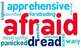 Afraid Word Cloud. On a white background Royalty Free Stock Photo