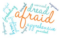 Afraid Word Cloud. On a white background Royalty Free Stock Photography