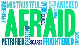 Afraid Word Cloud. On a white background Stock Images